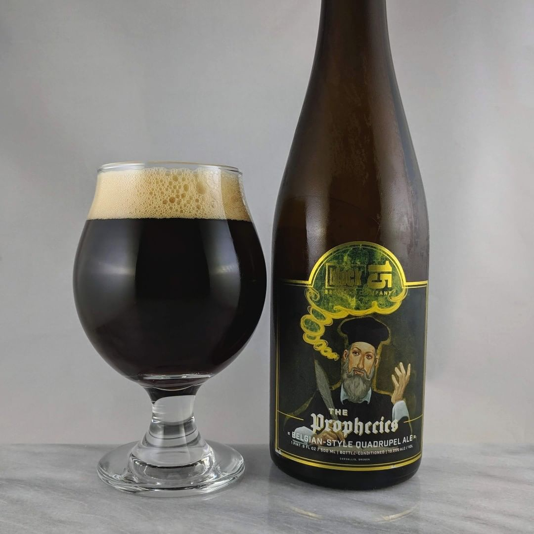 Beer: The Prophecies Style: Belgian Quad ABV: 10.25% IBU: – Hops: ? ———————————– Brewery: Block 15 – Corvallis, OR Brewery IG: @block15brewing ———————————– Rating: 4/5 Notes: Nice and solid quad Belgium beer with lots of malty tastes as well as some chocolate notes. Great beer for a chilly day which is obviously why I post it in the beginning of summer :) Bottle Art: Sweet gold foil and illustration. Drinkage: No date on bottle. ———————————–