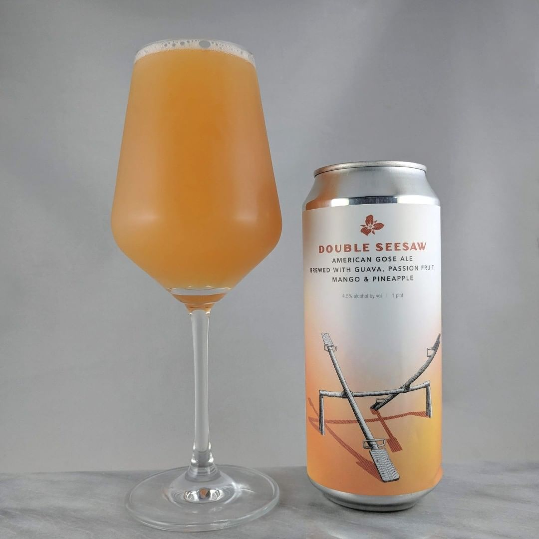 Beer: Double Seesaw: Guava, Passion Fruit, Mango, and Pineapple Style: Gose ABV: 4.5% IBU: – Hops: ? ———————————– Brewery: Trillium Brewing Company – Canton, MA Brewery IG: @trilliumbrewing ———————————– Rating: 4/5 Notes: This gose is ok. Haha that was cheesy. Solid fruited gose. Not too thick, medium tartness, and mediocre in the sweet side. Can art: Standard Trillium seesaw can art. Drinkage: 6 months after date on can. ———————————–