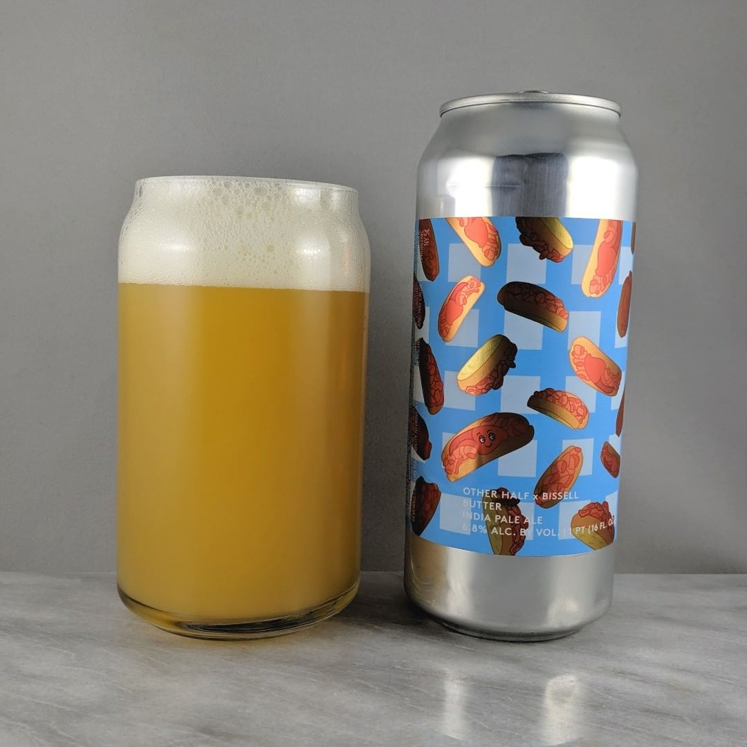 ????: Butter ?????: IPA ???: 6.8% ???: – ????: Citra, Citra Cryo, Nelson Sauvin and Motueka ———————————– ???????: Other Half Brewing Co. – Brooklyn, NY and Bissel Brothers Brewing Co. – Portland, ME ??????? ??: @OtherHalfNYC and @bissellbrothers ———————————– ??????: 4/? ?????: Like butter. Nice and smooth to drink with no bitterness or burn. Not sweet. I dig it  ??? ???:  Funny. The butter and smiling faces are great.  ????????: No date on can but I don't think this is very fresh.