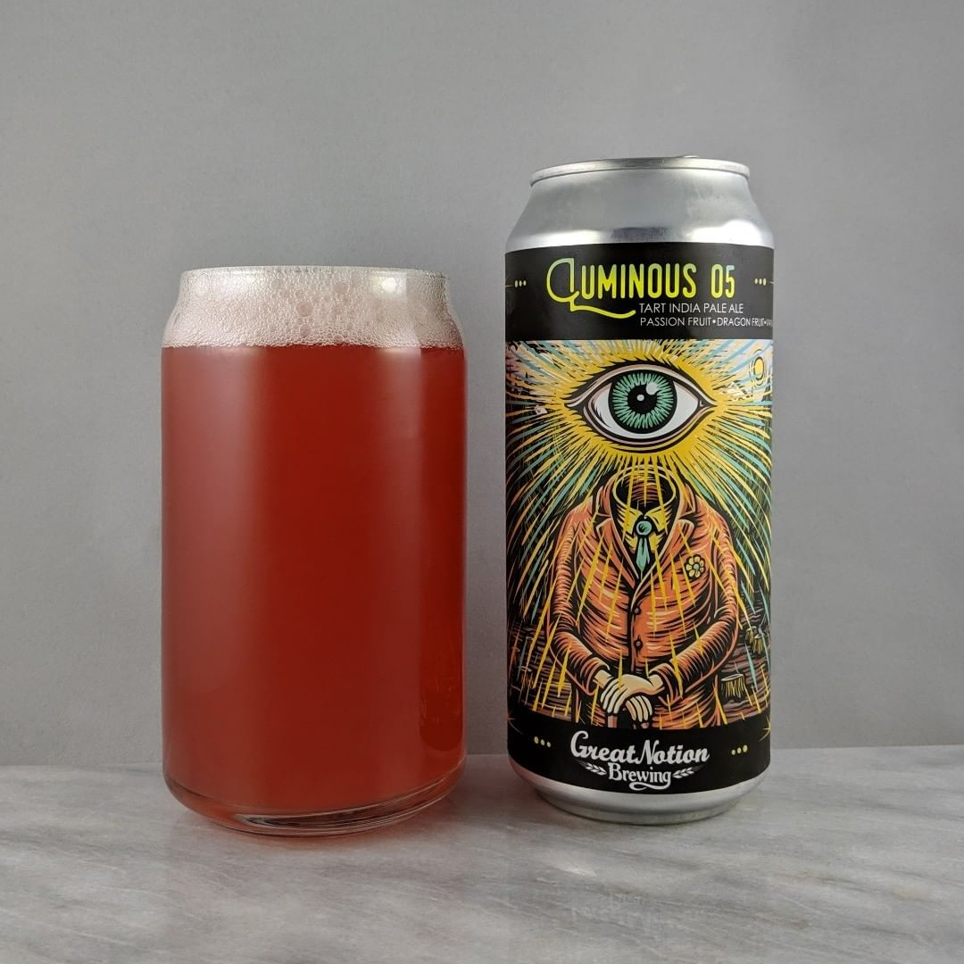 𝐁𝐞𝐞𝐫: Luminous 5 𝐒𝐭𝐲𝐥𝐞: Sour IPA 𝐀𝐁𝐕: 5.75% 𝐈𝐁𝐔: – 𝐇𝐨𝐩𝐬: – ———————————– 𝐁𝐫𝐞𝐰𝐞𝐫𝐲: Great Notion Brewing – Portland, OR 𝐁𝐫𝐞𝐰𝐞𝐫𝐲 𝐈𝐆: @greatnotionpdx ———————————– 𝐑𝐚𝐭𝐢𝐧𝐠: 4.5/𝟓 𝐍𝐨𝐭𝐞𝐬: This is a great Luminous batch. The passion fruit is most prominent for me but plenty of other flavors, such as the dragon fruit, are there a bit too. A bit sweet with that milk sugar but it all balances out really well. Easy to drink and super tasty.  𝐂𝐚𝐧 𝐀𝐫𝐭: This or the Merry Dankster are my favorite labels from Great Notion  𝐃𝐫𝐢𝐧𝐤𝐚𝐠𝐞: 10 days after date on can.