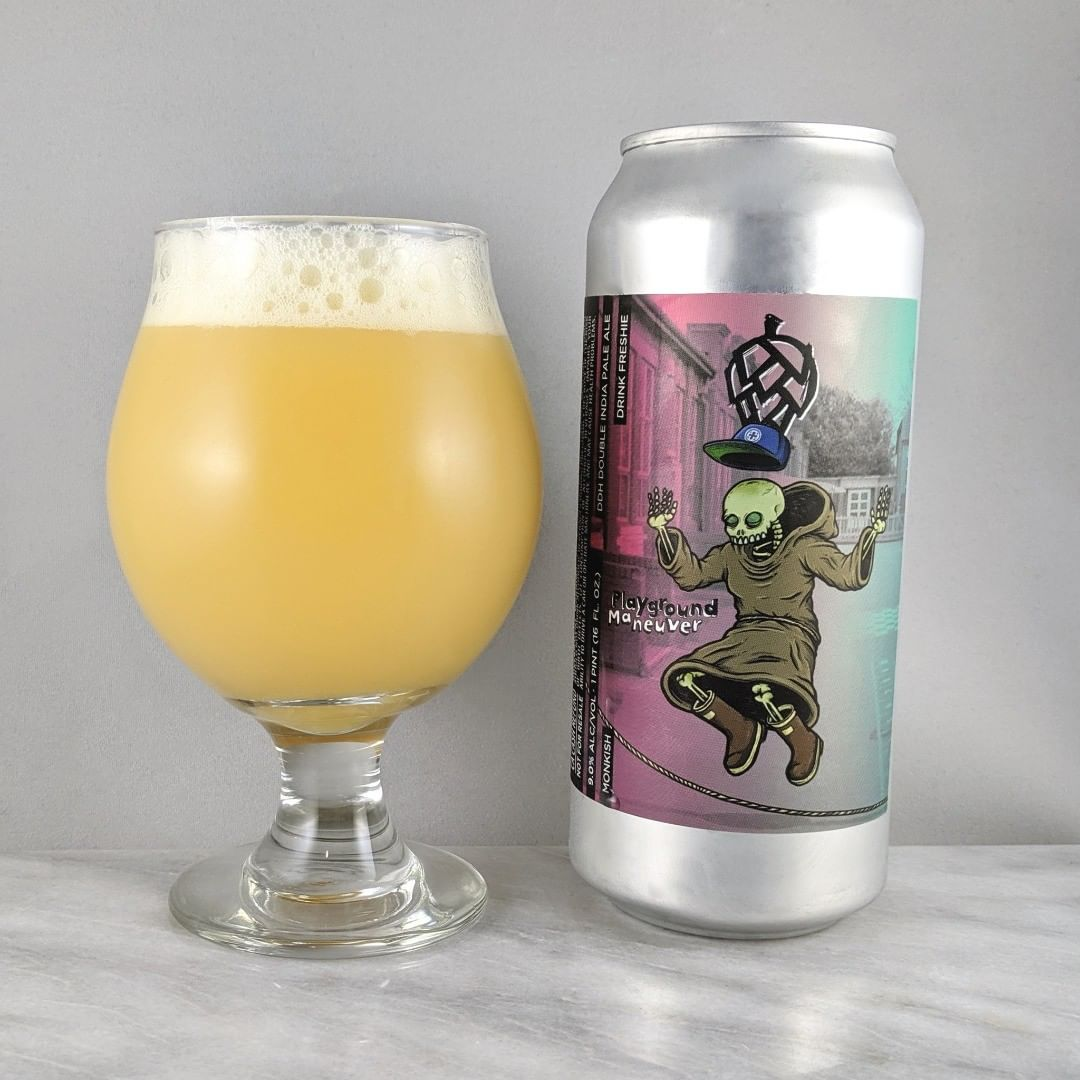 𝐁𝐞𝐞𝐫: Playground Maneuvers 𝐒𝐭𝐲𝐥𝐞: DIPA 𝐀𝐁𝐕: 9% 𝐈𝐁𝐔: – 𝐇𝐨𝐩𝐬: Galaxy, Simcoe, Vic Secret, and Citra ———————————– 𝐁𝐫𝐞𝐰𝐞𝐫𝐲: Monkish Brewing Company – Torrance, CA 𝐁𝐫𝐞𝐰𝐞𝐫𝐲 𝐈𝐆: @monkishbrewing ———————————– 𝐑𝐚𝐭𝐢𝐧𝐠: 4.25/𝟓 𝐍𝐨𝐭𝐞𝐬: So crushable and easy to drink. I'm down. Not sweet and no hop burn but a good slight hop as expected.  𝐂𝐚𝐧 𝐀𝐫𝐭: Sick. Not crazy but I really like the design.  𝐃𝐫𝐢𝐧𝐤𝐚𝐠𝐞: 9 days after date on can
