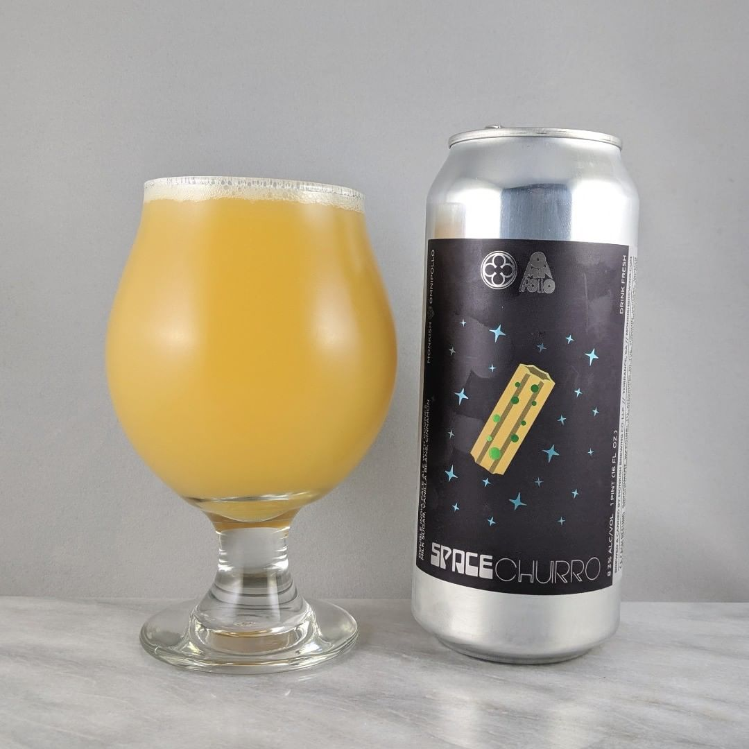 𝐁𝐞𝐞𝐫: Space Churro 𝐒𝐭𝐲𝐥𝐞: IPA 𝐀𝐁𝐕: 8.3% 𝐈𝐁𝐔: – 𝐇𝐨𝐩𝐬: – ———————————– 𝐁𝐫𝐞𝐰𝐞𝐫𝐲: Monkish Brewing Company – Torrance, CA and Omnipollo – Stockholm, Sweden 𝐁𝐫𝐞𝐰𝐞𝐫𝐲 𝐈𝐆: @monkishbrewing and @omnipollo ———————————– 𝐑𝐚𝐭𝐢𝐧𝐠: 4/𝟓 𝐍𝐨𝐭𝐞𝐬: Interesting one here. I can taste the churro taste they were going for. Sweet, as expected, and lots of vanilla flavor. Some cinnamon but not over powering.  𝐂𝐚𝐧 𝐀𝐫𝐭: Really like the can design. 𝐃𝐫𝐢𝐧𝐤𝐚𝐠𝐞: 7 days after date on can.