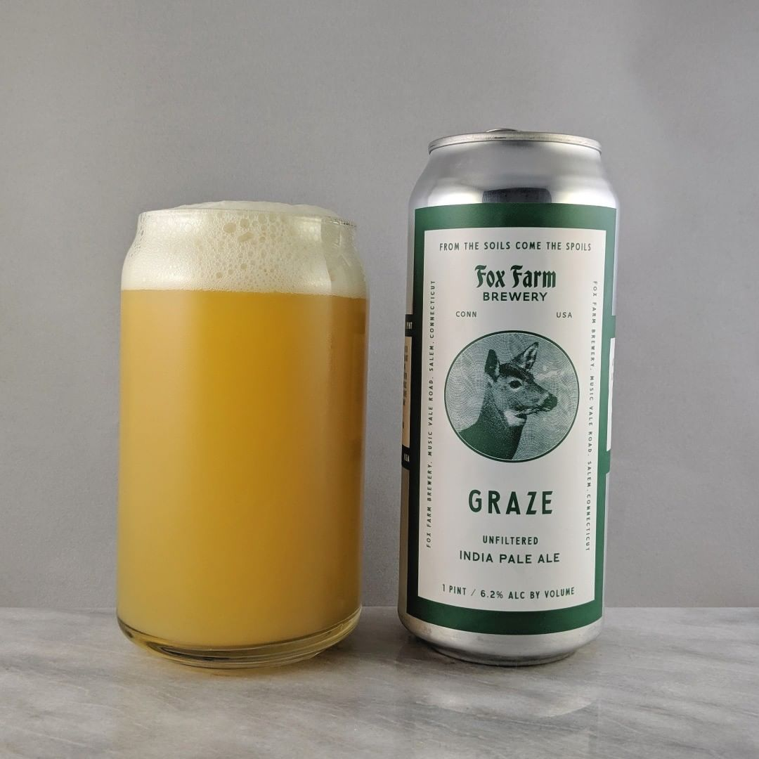 𝐁𝐞𝐞𝐫: Graze 𝐒𝐭𝐲𝐥𝐞: IPA 𝐀𝐁𝐕: 6.2% 𝐈𝐁𝐔: – 𝐇𝐨𝐩𝐬: ? ———————————– 𝐁𝐫𝐞𝐰𝐞𝐫𝐲: Fox Farm Brewing – Salem, CT 𝐁𝐫𝐞𝐰𝐞𝐫𝐲 𝐈𝐆: @foxfarmbeer ———————————– 𝐑𝐚𝐭𝐢𝐧𝐠: 4.25/5 𝐍𝐨𝐭𝐞𝐬: Mmm that's tasty. It has a good fluffy and almost earthy taste that's unique. Very tasty. Not bitter and not sweet.  𝐂𝐚𝐧 𝐀𝐫𝐭: Classic Fix Famr throw back design. I like it.  𝐃𝐫𝐢𝐧𝐤𝐚𝐠𝐞: 8 days after date on can. ———————————–