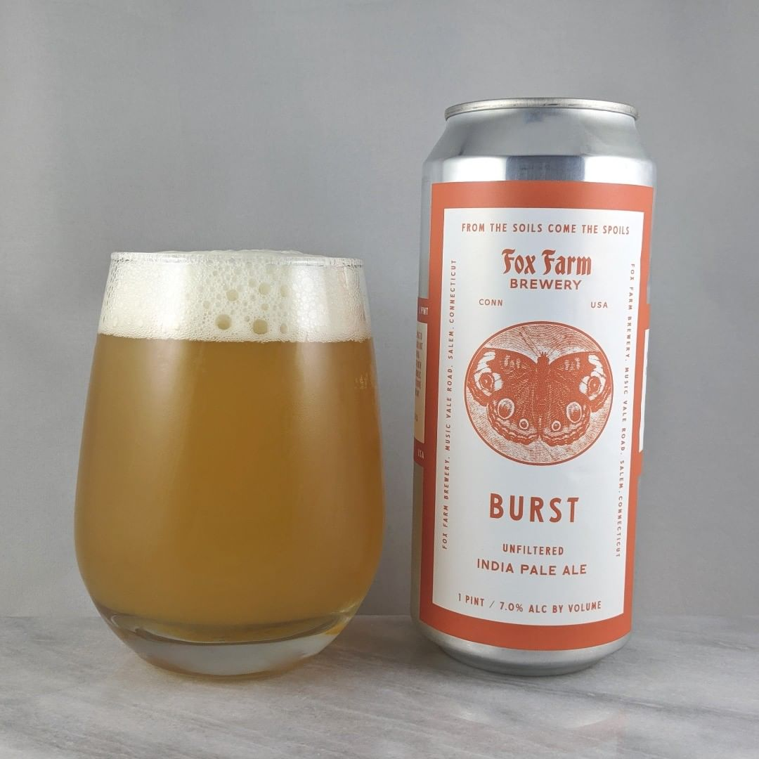 𝐁𝐞𝐞𝐫: Burst 𝐒𝐭𝐲𝐥𝐞: IPA 𝐀𝐁𝐕: 7% 𝐈𝐁𝐔: – 𝐇𝐨𝐩𝐬: ? ———————————– 𝐁𝐫𝐞𝐰𝐞𝐫𝐲: Fox Farm Brewing – Salem, CT 𝐁𝐫𝐞𝐰𝐞𝐫𝐲 𝐈𝐆: @foxfarmbeer ———————————– 𝐑𝐚𝐭𝐢𝐧𝐠: 4.5/5 𝐍𝐨𝐭𝐞𝐬: This is really good. Almost a 4.75 even. Tasty flavors and very crushable. Super smooth taste and feel. No hop burn or bitterness and not sweet. Great job @foxfarmbeer.  𝐂𝐚𝐧 𝐀𝐫𝐭: Cool butterfly on the standard Fox Farm can label.  𝐃𝐫𝐢𝐧𝐤𝐚𝐠𝐞: 18 days after date on can.