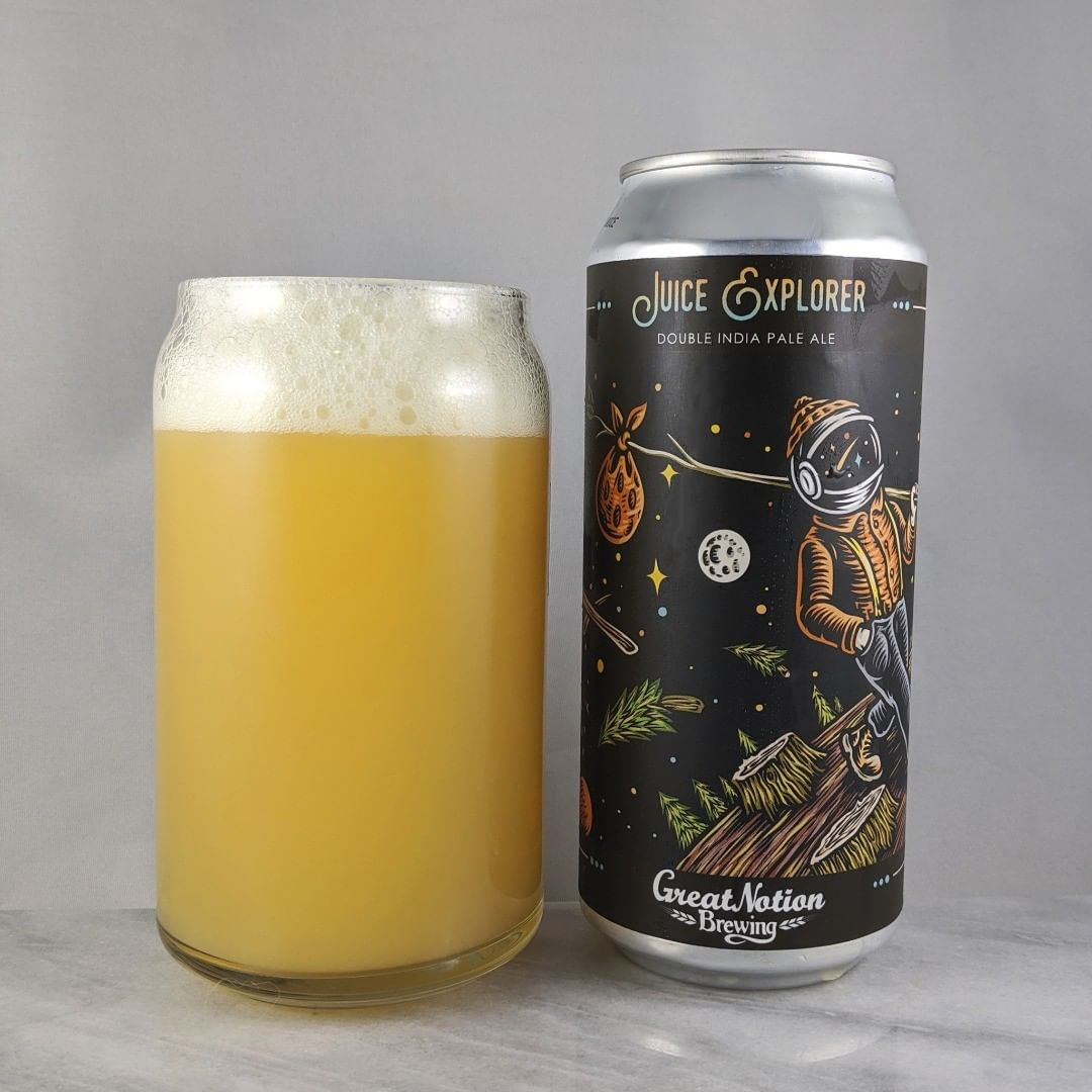 𝐁𝐞𝐞𝐫: Juice Explorer 𝐒𝐭𝐲𝐥𝐞: DIPA 𝐀𝐁𝐕: 8.2% 𝐈𝐁𝐔: – 𝐇𝐨𝐩𝐬: Galaxy, Sabro, and Motueka ———————————– 𝐁𝐫𝐞𝐰𝐞𝐫𝐲: Great Notion Brewing – Portland, OR and Moksa Brewing Company – Rocklin, CA 𝐁𝐫𝐞𝐰𝐞𝐫𝐲 𝐈𝐆: @greatnotionpdx and @moksabrewing ———————————– 𝐑𝐚𝐭𝐢𝐧𝐠: 4/𝟓 𝐍𝐨𝐭𝐞𝐬: Lots of great flavor in this one. Some good hoppiness to it as well. I'm enjoying it.  𝐂𝐚𝐧 𝐀𝐫𝐭: Great space design from @timberps.  𝐃𝐫𝐢𝐧𝐤𝐚𝐠𝐞: 9 days after date on can.
