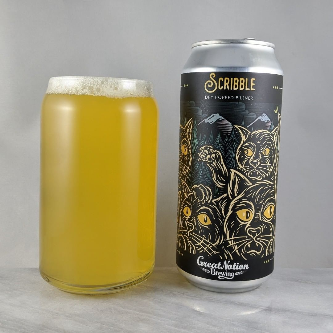 𝐁𝐞𝐞𝐫: Scribble 𝐒𝐭𝐲𝐥𝐞: Pilsner 𝐀𝐁𝐕: 5.8% 𝐈𝐁𝐔: – 𝐇𝐨𝐩𝐬: Citra and Motueka ———————————– 𝐁𝐫𝐞𝐰𝐞𝐫𝐲: Great Notion Brewing – Portland, OR and Highland Park – Los Angeles, CA 𝐁𝐫𝐞𝐰𝐞𝐫𝐲 𝐈𝐆: @greatnotionpdx and @highlandparkbrewery ———————————– 𝐑𝐚𝐭𝐢𝐧𝐠: 3.75/𝟓 𝐍𝐨𝐭𝐞𝐬: A solid, light, hoppy pilsner with some good flavor. It's light enough to crush it by yourself. It's a hoppy summer beer. I wish it was summer. Some hoppiness and not sweet.  𝐂𝐚𝐧 𝐀𝐫𝐭: Cats on cats on cats. Nice work @timberps.  𝐃𝐫𝐢𝐧𝐤𝐚𝐠𝐞: Day of release.  Today!