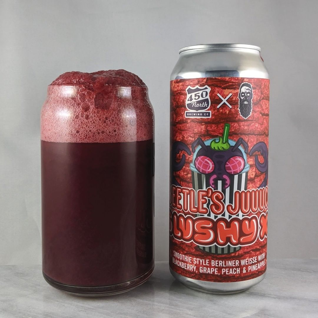 ????: Slushy XL Beetle's Juuuce ?????: Sour ???: 8% ???: – ????: – ———————————– ???????: 450 North Brewing – Columbus, IN ??????? ??: @450northbrewing and @beerzombies ———————————– ??????: 4.5/? ?????: I'm all about this slushy. This fruit mix is great with the blackberry being the most prominent taste.  ??? ???: Awesome Halloween design. Great to see collabs with Beer Zombies.  ????????: No date on can.