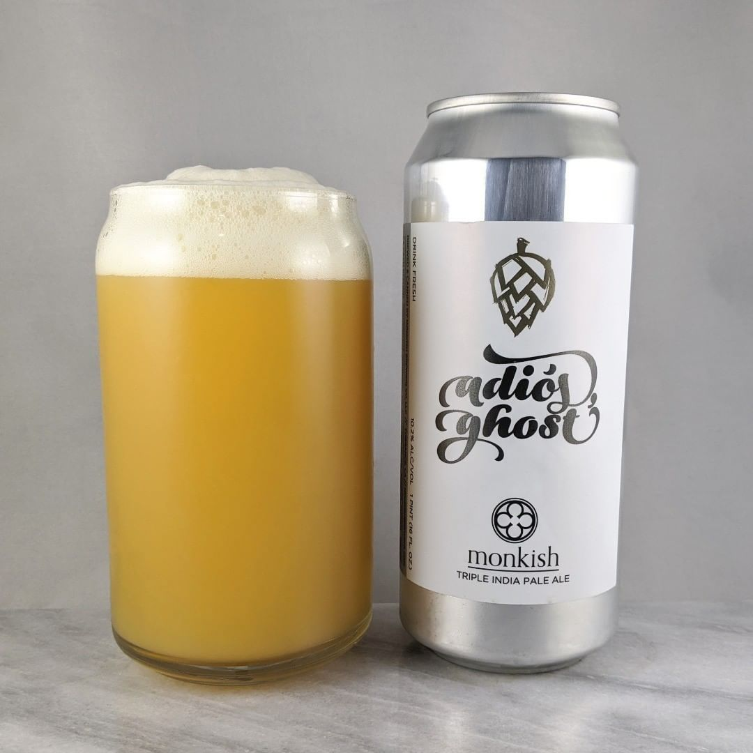 𝐁𝐞𝐞𝐫: Adios Ghost (Batch 3) 𝐒𝐭𝐲𝐥𝐞: TIPA 𝐀𝐁𝐕: 10.2% 𝐈𝐁𝐔: – 𝐇𝐨𝐩𝐬: Citra ———————————– 𝐁𝐫𝐞𝐰𝐞𝐫𝐲: Monkish Brewing Company – Torrance, CA 𝐁𝐫𝐞𝐰𝐞𝐫𝐲 𝐈𝐆: @monkishbrewing ———————————– 𝐑𝐚𝐭𝐢𝐧𝐠: 4/𝟓 𝐍𝐨𝐭𝐞𝐬: Some good stuff. I never had the previous batches but I'm assuming they were good if they are still brewing it.  A little boozy but not bad. Not much bitterness and not sweet. Solid. #monkishmonday 𝐂𝐚𝐧 𝐀𝐫𝐭: Clean and simple but with a cool font / illustration / calligraphy.  𝐃𝐫𝐢𝐧𝐤𝐚𝐠𝐞: 18 days after date on can