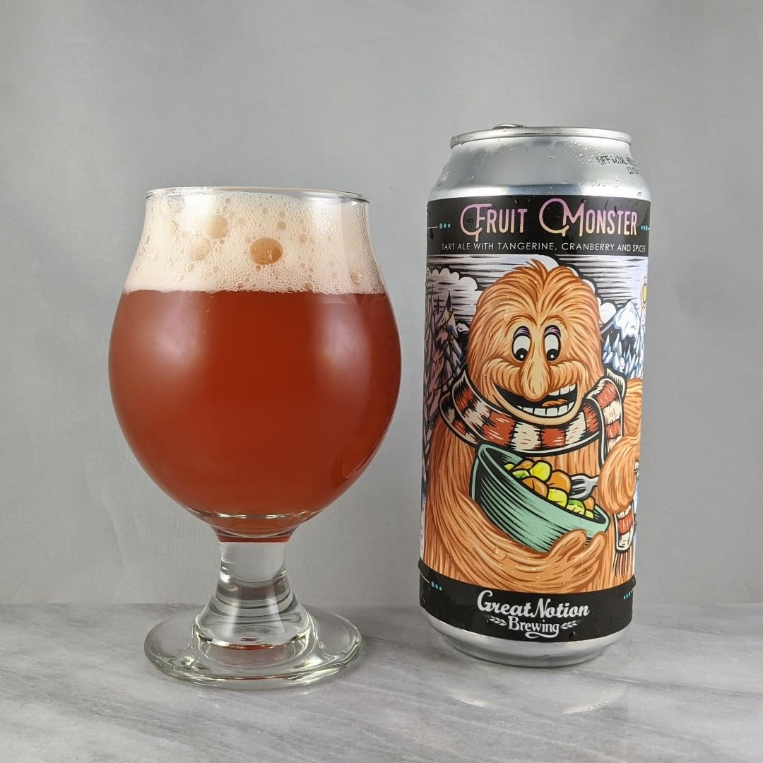 𝐁𝐞𝐞𝐫: Fruit Monster – Holiday 𝐒𝐭𝐲𝐥𝐞: Fruit / Sour 𝐀𝐁𝐕: 6% 𝐈𝐁𝐔: – 𝐇𝐨𝐩𝐬: – ———————————– 𝐁𝐫𝐞𝐰𝐞𝐫𝐲: Great Notion Brewing – Portland, OR 𝐁𝐫𝐞𝐰𝐞𝐫𝐲 𝐈𝐆: @greatnotionpdx ———————————– 𝐑𝐚𝐭𝐢𝐧𝐠: 3.75/𝟓 𝐍𝐨𝐭𝐞𝐬: I typically don't like many spices or cranberry in my beer but this one was nicely balanced.  Not a bad job at all. Sweet as expected and not bitter.  Some tartness. 𝐂𝐚𝐧 𝐀𝐫𝐭: The fruit monster can is cool and glad they put a holiday spin on it. 𝐃𝐫𝐢𝐧𝐤𝐚𝐠𝐞: 7 days after date on can