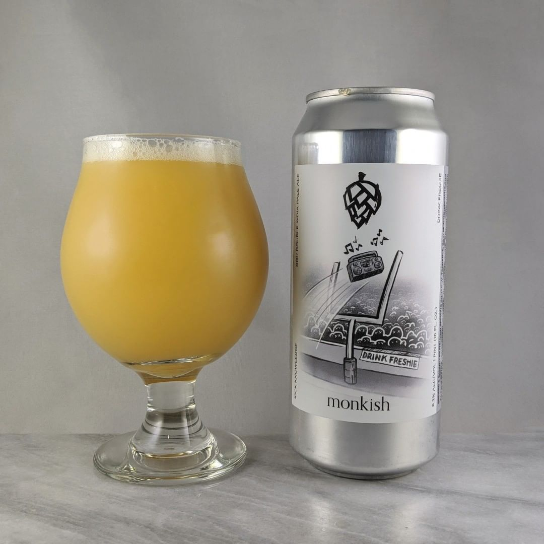 𝐁𝐞𝐞𝐫: Kick Knowledge 𝐒𝐭𝐲𝐥𝐞: DIPA 𝐀𝐁𝐕: 8.2% 𝐈𝐁𝐔: – 𝐇𝐨𝐩𝐬: Motueka, Cashmere, Galaxy and Citra ———————————– 𝐁𝐫𝐞𝐰𝐞𝐫𝐲: Monkish Brewing Company – Torrance, CA 𝐁𝐫𝐞𝐰𝐞𝐫𝐲 𝐈𝐆: @monkishbrewing ———————————– 𝐑𝐚𝐭𝐢𝐧𝐠: 4/𝟓 𝐍𝐨𝐭𝐞𝐬: A good hazy. Nice and easy to drink. Some slight hip bitterness bit over all very smooth. Not sweet.  𝐂𝐚𝐧 𝐀𝐫𝐭: I like the idea a behind the name and label  𝐃𝐫𝐢𝐧𝐤𝐚𝐠𝐞: 6 days after date on can.