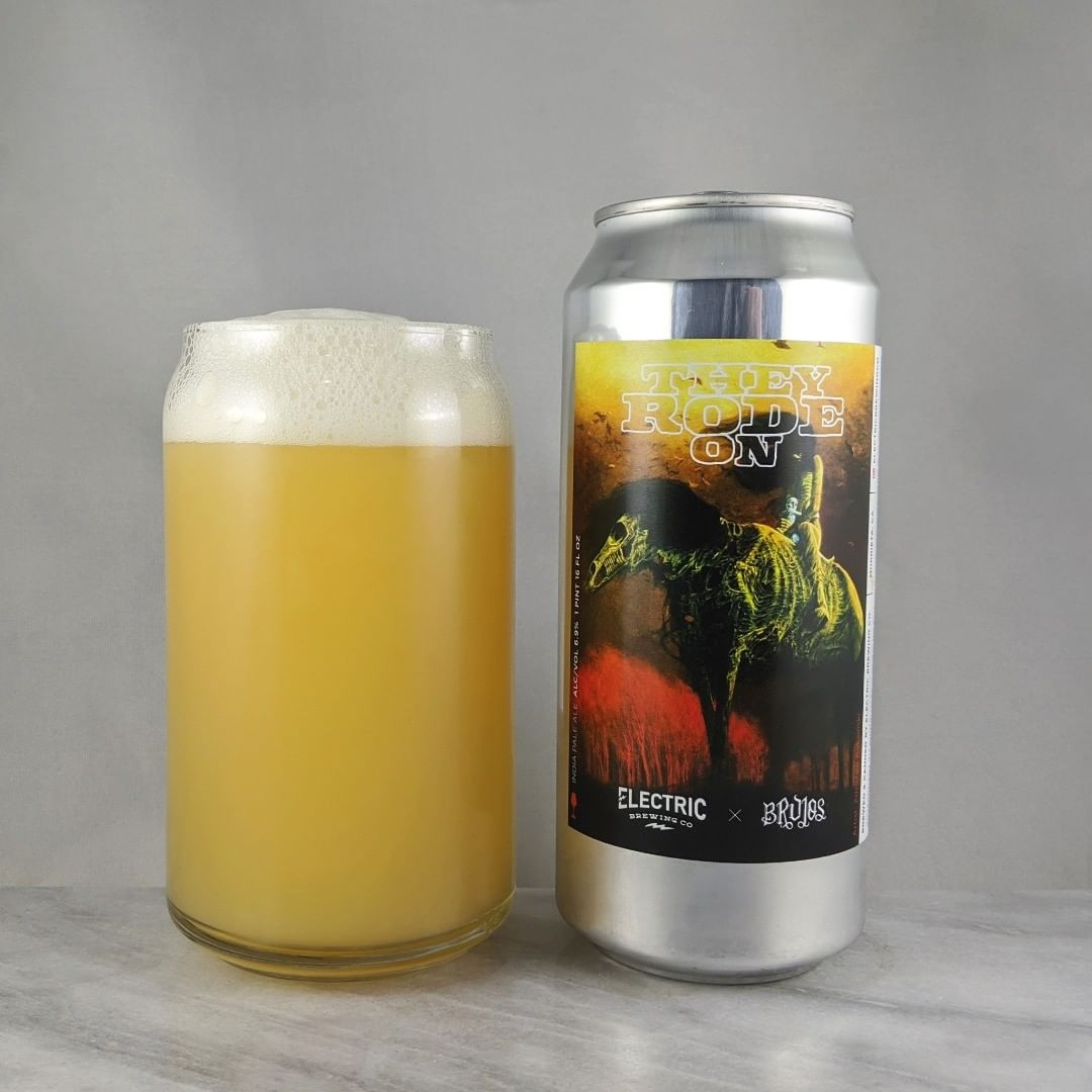 𝐁𝐞𝐞𝐫: They Rode On 𝐒𝐭𝐲𝐥𝐞: IPA 𝐀𝐁𝐕: 6.9% 𝐈𝐁𝐔: – 𝐇𝐨𝐩𝐬: Galaxy and Citra ———————————– 𝐁𝐫𝐞𝐰𝐞𝐫𝐲: Electric Brewing Company – Murrieta, CA  and Brujos Brewing 𝐁𝐫𝐞𝐰𝐞𝐫𝐲 𝐈𝐆: @electricbrewingco and @brujos_brewing ———————————– 𝐑𝐚𝐭𝐢𝐧𝐠: 4.25/𝟓 𝐍𝐨𝐭𝐞𝐬: Oh nice. This one is super smooth and easy drinking. Very crushable. No bitterness and not sweet.  𝐂𝐚𝐧 𝐀𝐫𝐭: Great graphic. Very Brujos style.  𝐃𝐫𝐢𝐧𝐤𝐚𝐠𝐞: 2 days after best before date on can.