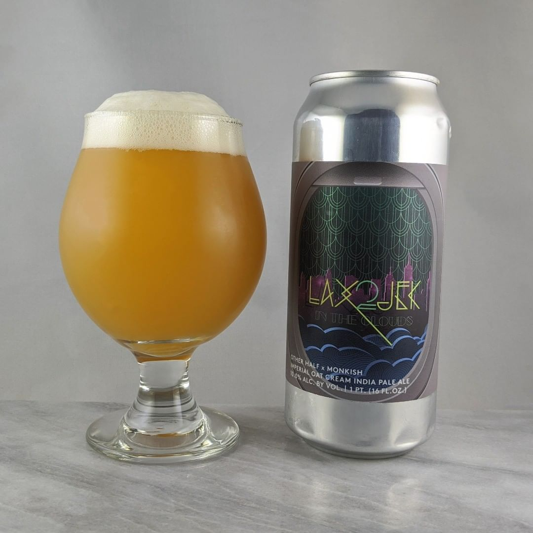 𝐁𝐞𝐞𝐫: LAX2JFK in the Clouds (2020) 𝐒𝐭𝐲𝐥𝐞: TIPA 𝐀𝐁𝐕: 10% 𝐈𝐁𝐔: – 𝐇𝐨𝐩𝐬: Simcoe, Motueka, and Citra ———————————– 𝐁𝐫𝐞𝐰𝐞𝐫𝐲: Other Half Brewing Co. – Brooklyn, NY and Monkish Brewing – Torrance, CA 𝐁𝐫𝐞𝐰𝐞𝐫𝐲 𝐈𝐆: @OtherHalfNYC and @monkishbrewing ———————————– 𝐑𝐚𝐭𝐢𝐧𝐠: 4.25/𝟓 𝐍𝐨𝐭𝐞𝐬: At 10% this is great. Not boozy and easy to drink. Really has that oatmeal smoothness.  𝐂𝐚𝐧 𝐀𝐫𝐭:  I'm liking the line design. Got that neon feeling. 𝐃𝐫𝐢𝐧𝐤𝐚𝐠𝐞: 22 days after date on can.